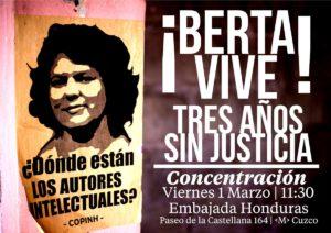 Concentración en la embajada de Honduras en Madrid @ Embajada de Honduras en Madrid